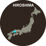 Japan map with Hiroshima