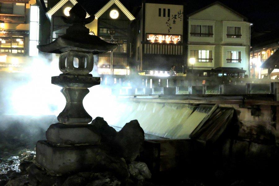 Kusatsu Onsen Town at Night