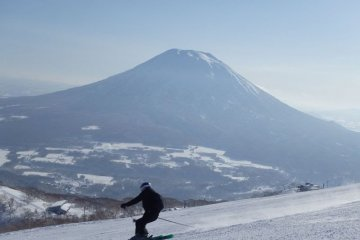 Snowboarding on Mount Yotei