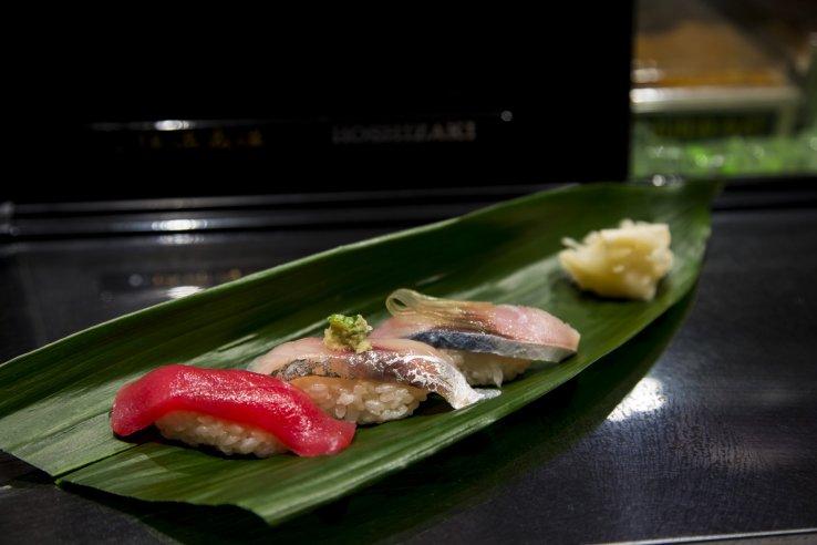 Tuna belly, mackerel, and horse mackerel sushi