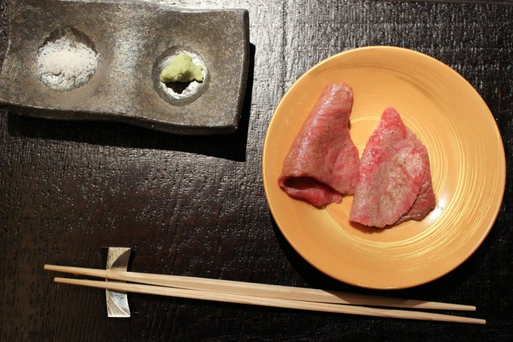 Habaki cut of wagyu beef, served with rock salt and wasabi